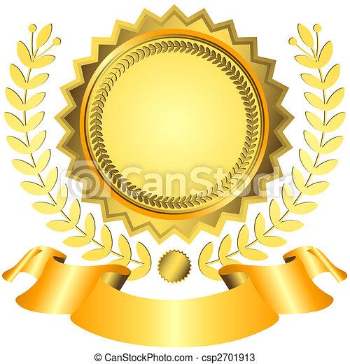Golden award with ribbon (vector)  - csp2701913