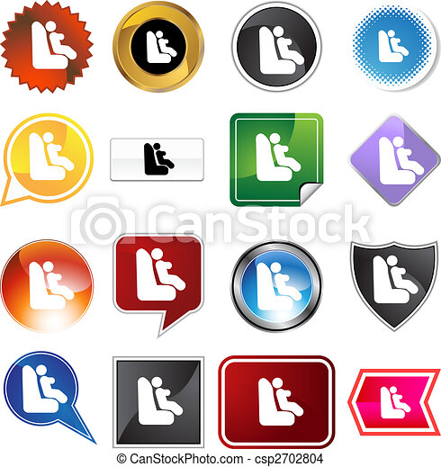Baby Car Seat Icon Set - csp2702804