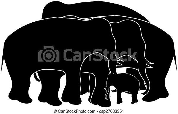 Group of elephant - csp27033351