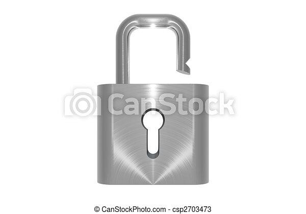 Metallic unlocked padlock object on white background - csp2703473
