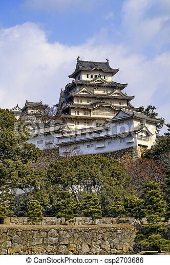 Majestic Castle of Himeji in Japan. - csp2703686