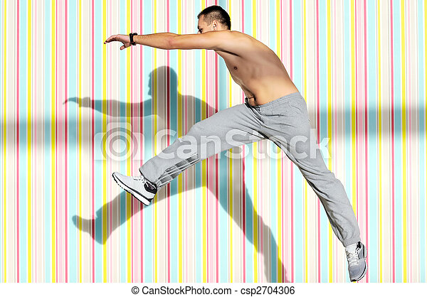 one young healthy man exercice fitness recreation and jump in air
