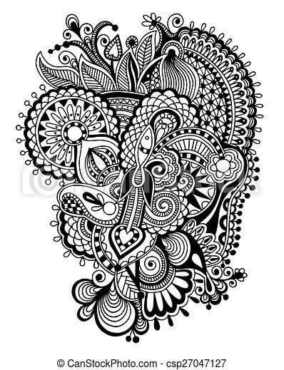 Zentangle Flower Tattoo Illustration Vecteur d...