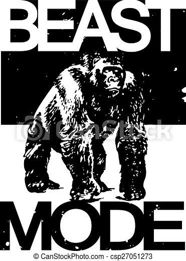 vectors illustration of beast mode tshirt design beast