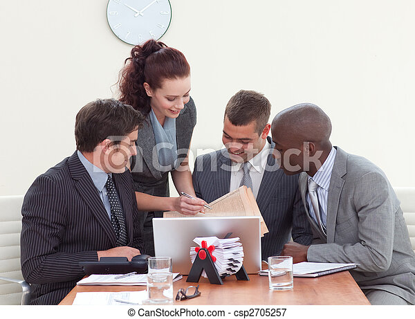 Businessmen in a meeting talking to a secretary - csp2705257