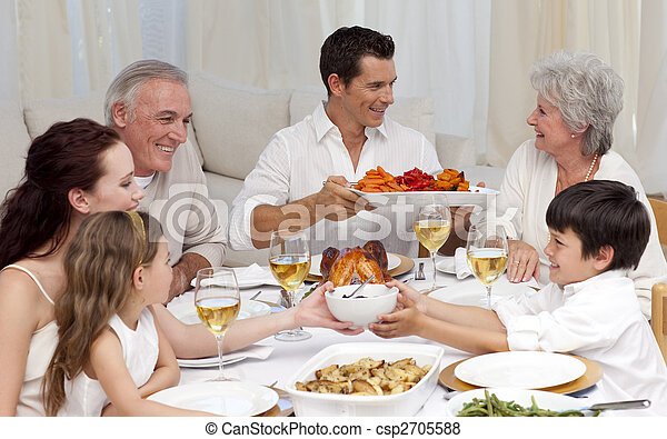 Family having a big dinner at home - csp2705588