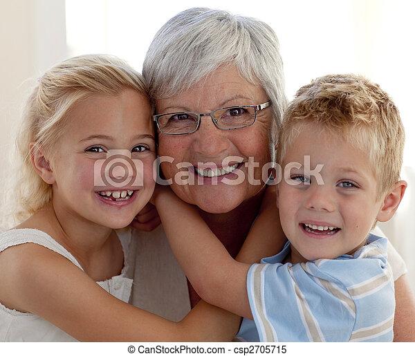 Portrait of grandmother and grandchildren - csp2705715