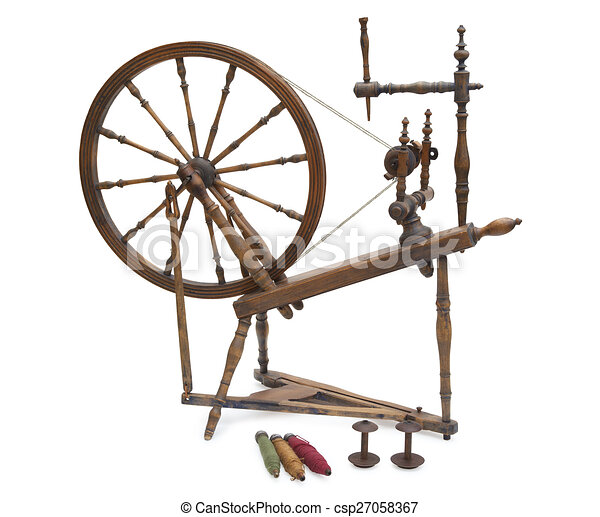 Antique Spinning Wheel With Yarn And Bobbins Isolated On White Stock Illustration