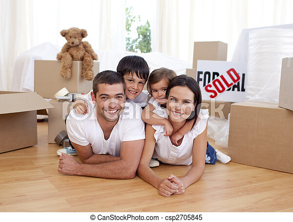 Happy family after buying new house - csp2705845