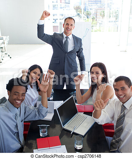 Business people in a meeting celebrating a success - csp2706148