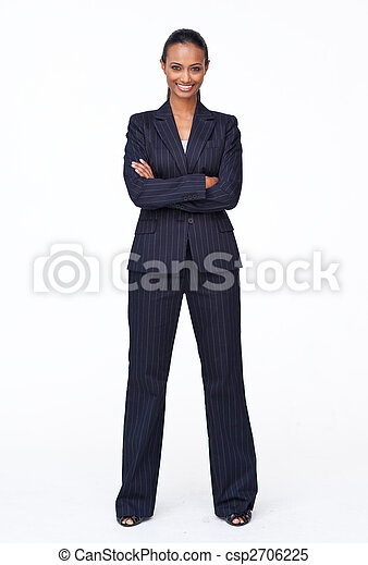 Isolated confident Indian businesswoman smiling at the camera - csp2706225