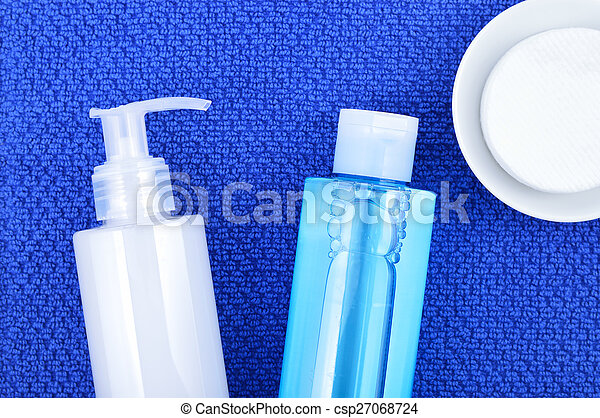 Face wash cleansing gel, toner and cotton cleansing pads.