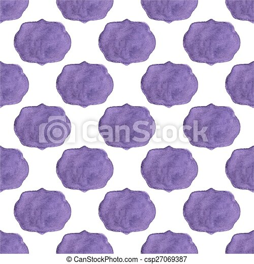 Watercolor seamless pattern with vicrorian frames on the white background, aquarelle.  Vector illustration.  - csp27069387