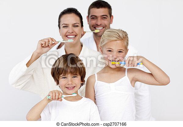 他們, 浴室, 清掃, 家庭, 牙齒 - csp2707166