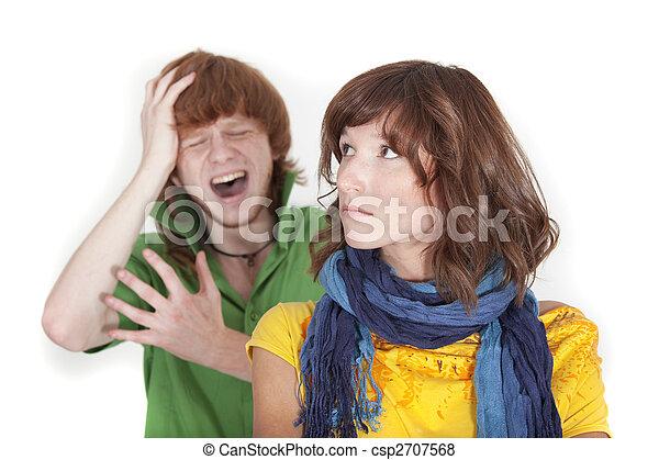 crying man and unhappy woman - csp2707568