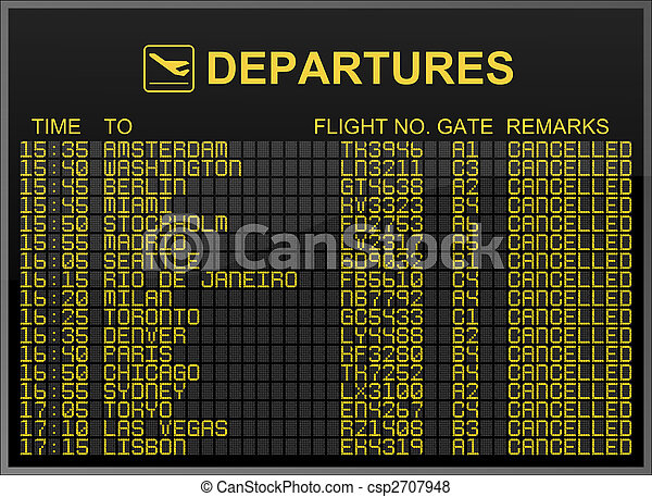 International airport departures board with all flights cancelled - csp2707948