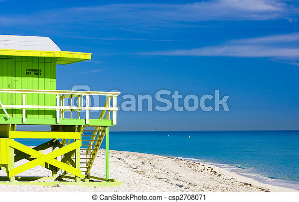 cabin on the beach, Miami Beach, Florida, USA - csp2708071
