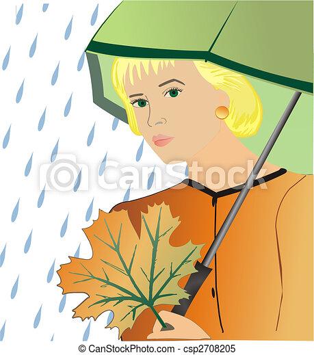 The girl under an umbrella - csp2708205