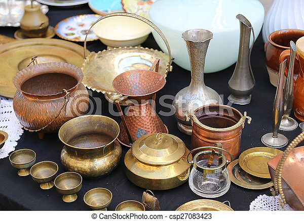 copper pots precious and vintage furnishings for sale in the antique shop