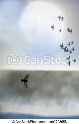Illustration of birds in flight over an abstract landscape of sea, shore, and light.  - csp2708658
