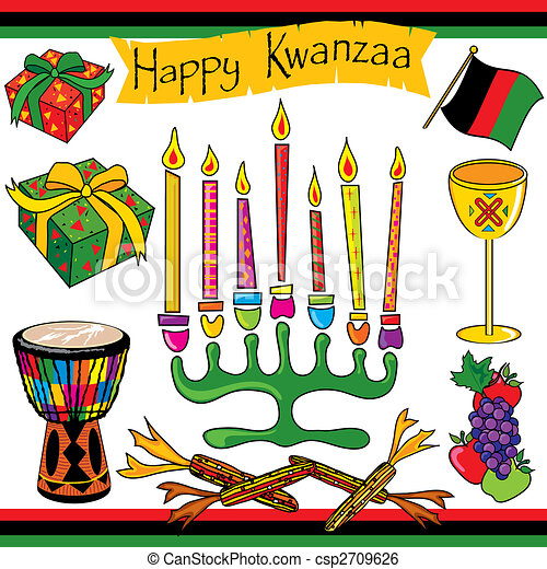 Kwanzaa clipart elements and icons - csp2709626