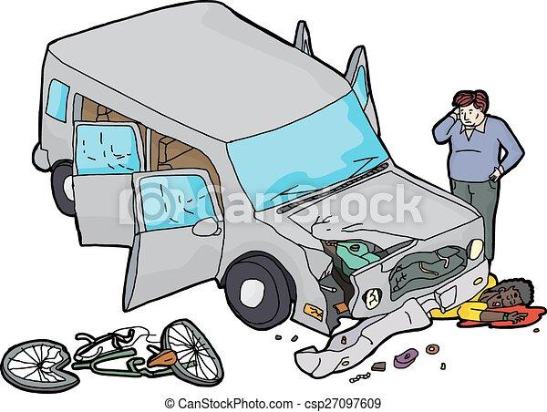 clipart vecteur de contre voiture accident v lo n gligent chauffeur csp27097609. Black Bedroom Furniture Sets. Home Design Ideas