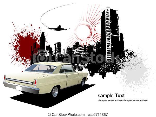 1970\'s Luxury Coupe on grunge urban background. Vector illustration - csp2711367