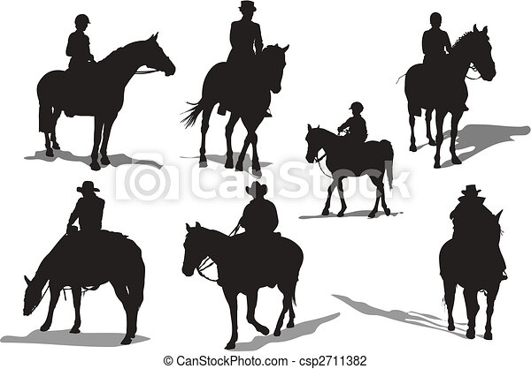 Horse riders silhouettes. Vector illustration - csp2711382