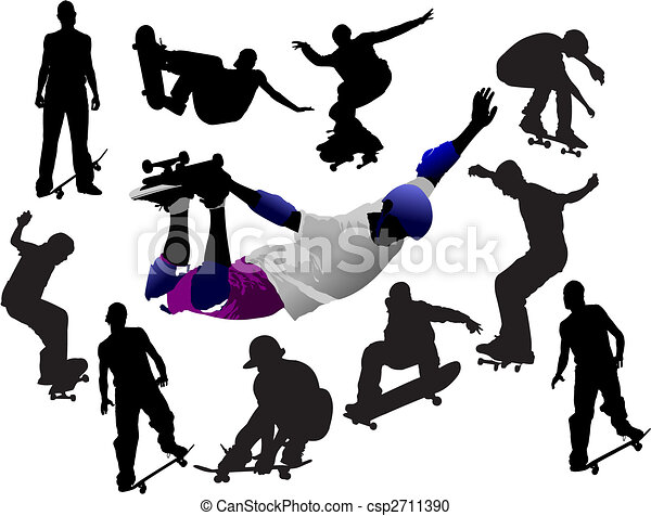 Jumping skateboarder silhouette colored vector illustration for designers - csp2711390