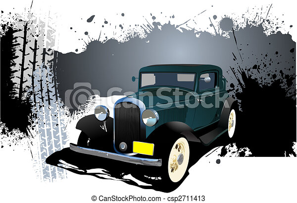 Grunge Banner with rarity car image. Vector illustration - csp2711413