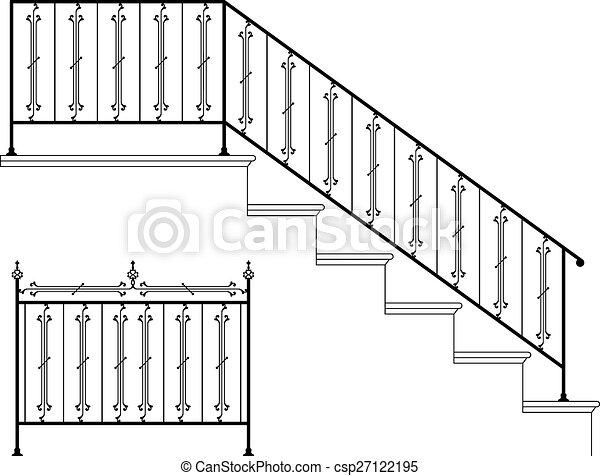 Wrought Iron Stair Railing Design - csp27122195