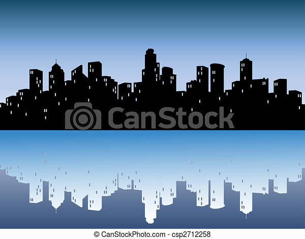 urban skylines with reflection - csp2712258