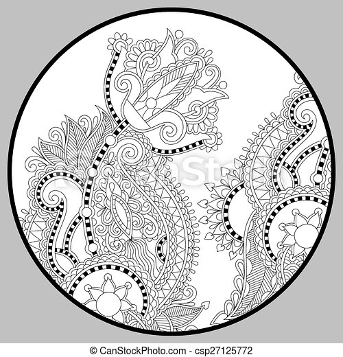coloring book page for adults - zendala - csp27125772
