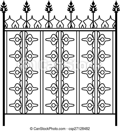 Vector of wrought iron gate door fence window grill for Window gate design