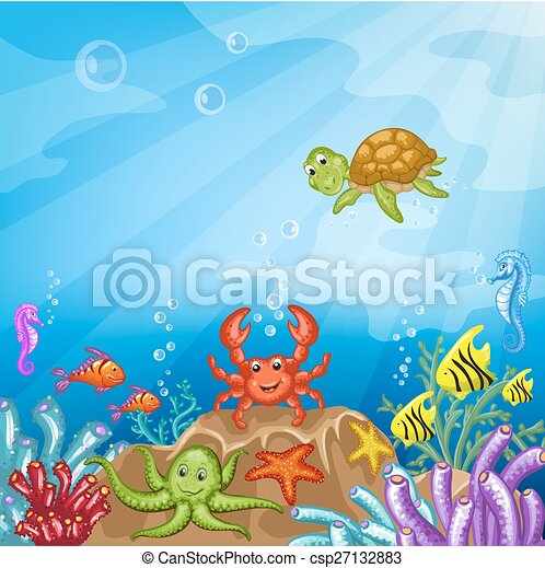 How to draw Underwater scenery. Step by step (easy draw ...  Underwater World Drawings