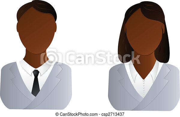 Two users icon - african man and woman - csp2713437