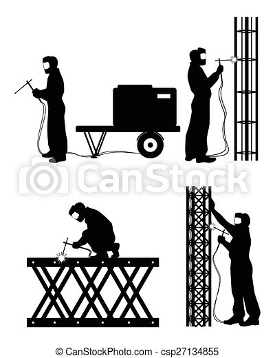 Clipart Vector of Four welders at work - Vector illustration of a ...