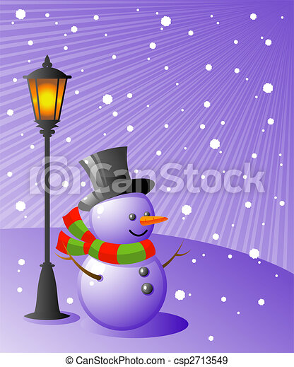 Snowman stands under a lamp on a snowy evening - csp2713549