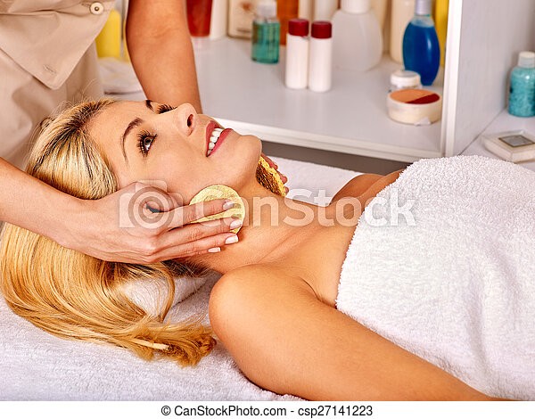 Woman getting  facial massage . - csp27141223