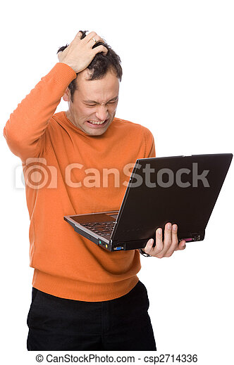 Man despairing with computer - csp2714336