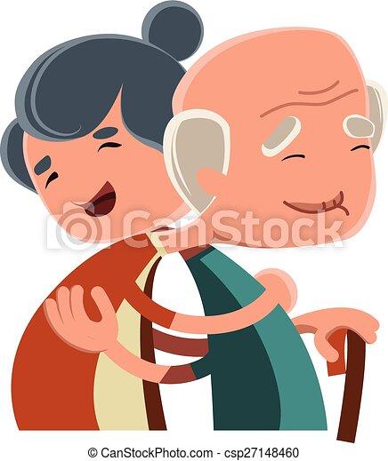 Clip Art Vector of Old couple hugging vector illustration cartoon ...