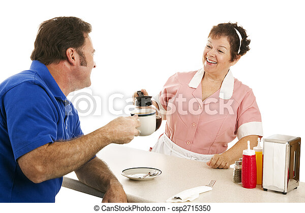 Diner Waitress with Customer - csp2715350