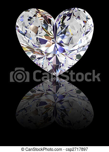 Heart shape diamond on glossy black background - csp2717897