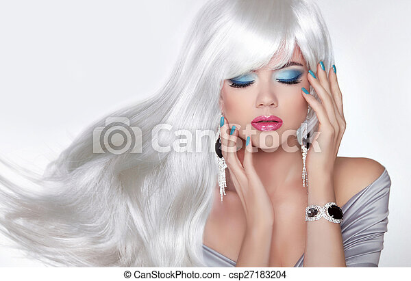 Beauty Makeup. Long hair. Blond girl with white wavy haistyle in