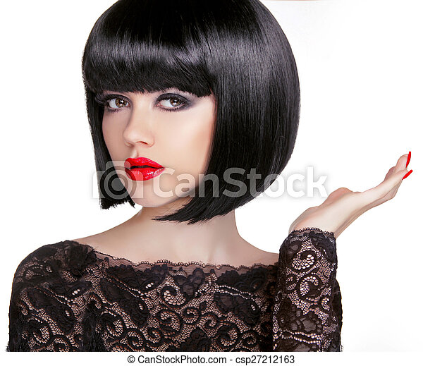 Bob hairstyle. Brunette fashion model with black short hair and  - csp27212163