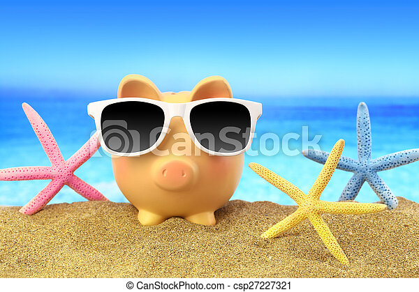 Summer piggy bank with sunglasses and starfishes on beach - csp27227321
