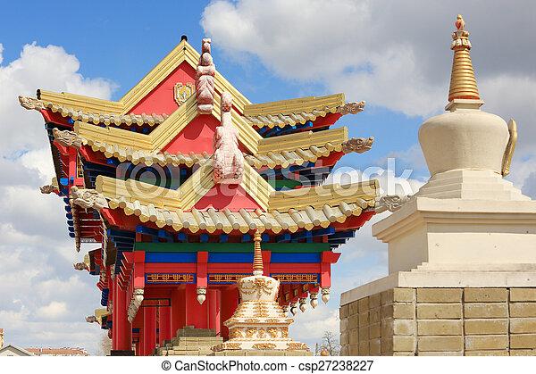 Clouds over the Buddhist temple. Golden Abode of Buddha Shakyamuni in Elista, Republic of Kalmykia, Russia