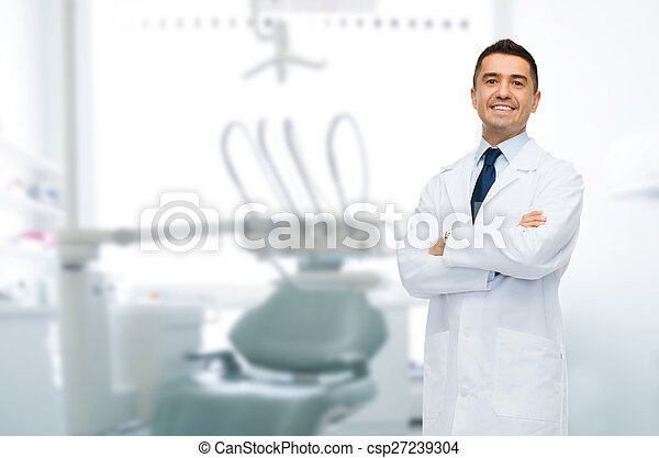smiling male middle aged dentist