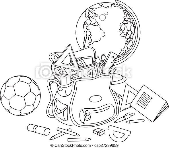 Clipart vector of cartable globe et balle cole - Clipart cartable ...