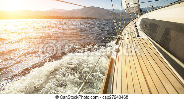 Sailing ships yachts in open sea